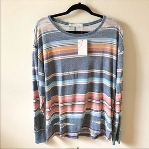 NWT Free People Arielle Printed Long Sleeve Top